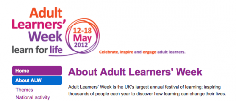 Picture of part of Adult Learner's Week Website