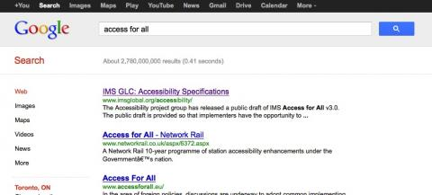 Picture of IMS Accessibility page as the first result on a google search screen
