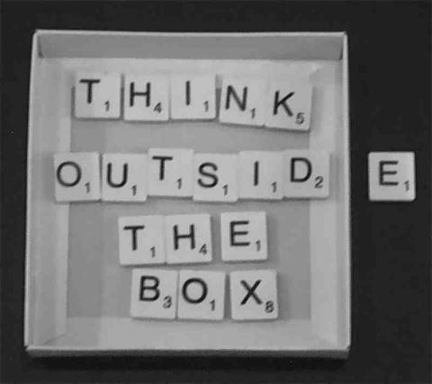 Photo of text - Think Outside The Box